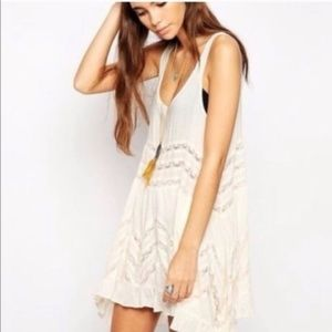 Free People Cream Colored Trapeze Slip Dress